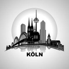 kölner dom zum ausmalen | Vektor: Köln Wandtatoo rund Silhouette Kullisse Sehenswürdigkeiten ...