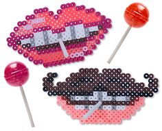 Lollipops Lips Perler Project Pattern : perfect for Valentine exchanges or everyday silliness! Simply insert a lollipop through the center hole for a treat that makes everyone smile!!