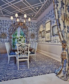 Custom Wool Zebra patterned rug designed for design firm, Seldom Scene Interiors, for their client in Palm Beach, FL