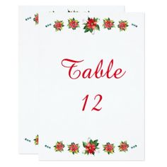 Watercolor Poinsettia - Table Number - Xmascards ChristmasEve Christmas Eve Christmas merry xmas family holy kids gifts holidays Santa cards