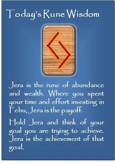 Jera - the rune of harvest, the year, accomplishments, goals and success
