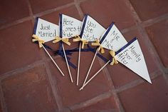 DIY wedding pennants in navy blue and yellow wedding color palette Blue Yellow Weddings, Yellow Wedding Colors, Fall Wedding, Diy Wedding, Wedding Reception, Wedding Pennant, Cute Wedding Ideas, Wedding Inspiration, Something Blue Wedding