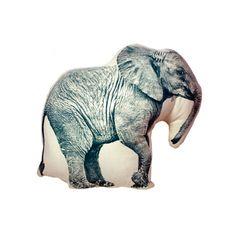 可愛いゾウのプリントクッション - ナチュラル by AREAWARE