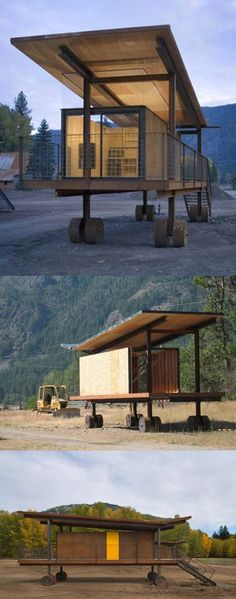 I found it! The Answer! Rolling Huts! // Rolling Huts was one of three projects by ASKA Architects to win at the AIA Seattle Awards a couple of weeks ago. Located at Mazama in Washington State, the six huts serve as guest accommodation for friends of architect Tom Kundig, who has his Delta Shelter weekend retreat in the valley nearby. The cabins have wheels to get round local planning laws forbidding permanent structures. (uploaded by reVetro)