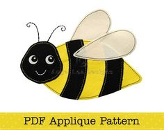 Bumblebee Applique Pattern PDF Bee Applique Template | AngelLeaDesigns - Handmade Supplies on ArtFire