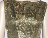 Vintage 1960's Wiggle Dress Olive Green Gold Small Medium  This is a gorgeous dress that was featured in a lovely treasury!  So Mad Men!!!
