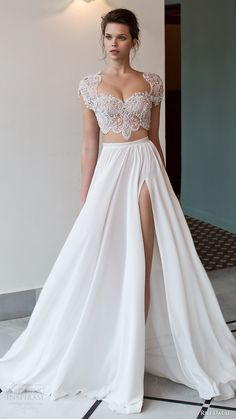 riki dalal bridal 2016 cap sleeves illusion crop top heavily embellished bodice a line wedding dress (1811) mv slit skirt mv edgy romantic