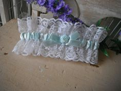 Vintage garter lace wedding garter white light blue by ShabbyRoad, $14.50