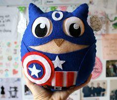 Captain Owlmerica Captain America Felt Owl por Scrabblekitty