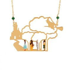 Wonderful Wizard of Oz's characters on their way to the Emerald city long necklace