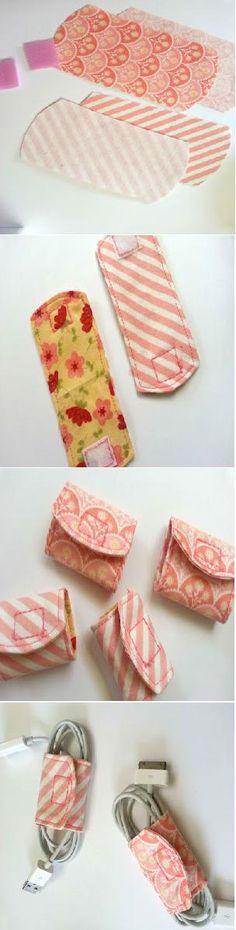 Tutorial: DIY Cord Keeper From Fabric Scraps (sur le même principe un protège-épaule pour le sac des courses)