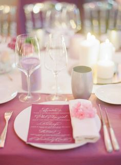 Purple and pink table: http://www.stylemepretty.com/2015/06/30/glamorous-french-riviera-wedding-2/ | Photography: Greg Finck - http://www.gregfinck.com/