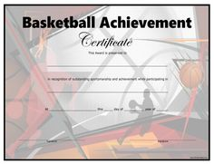 Basketball certificate templates for players team parents and free printable basketball certificate yadclub Choice Image