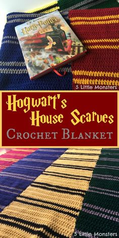 Free pattern for a crocheted blanket made to look like the Hogwart's House Scarves, perfect for reading Harry Potter.