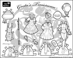 Steampunk seaside visit paper doll clothes for the Mini Maidens