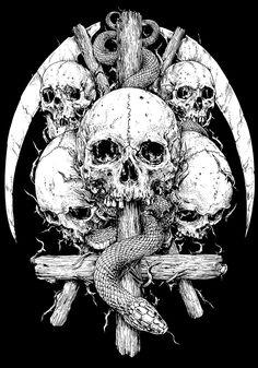 Rafal Wechterowicz on Behance Dark Artwork, Skull Artwork, Dark Art Drawings, Skull Wallpaper, Dark Wallpaper, Arte Horror, Horror Art, Arte Punk, Skull Sleeve Tattoos
