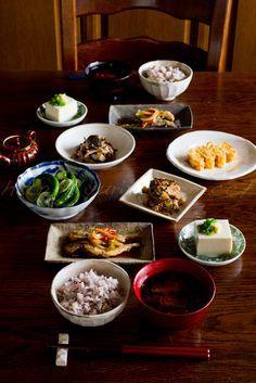 Japanese Breakfast Meals (Fried Fish Nanbanzuke, Tofu Hiyayakko, Tamagoyaki Rolled Egg, Rich Veggies, Rice and Miso Soup)