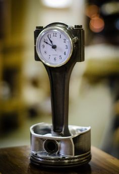 This beautiful desk clock is crafted from genuine up cycled engine pistons from a Dodge Hemi. Get something unique this Christmas for the dodge