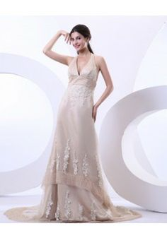 By Carolyn Carr A-line Halter Sleeveless Chapel train Tulle Wedding Dress #BUKCH193 - See more at: http://www.anniedress.com/wedding-dresses.html?p=3#sthash.blrl6wAd.dpuf