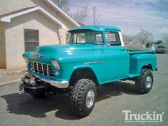 lifted '55 Chevy pickup truck