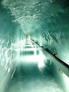 "Inside the Ice Palace at ""The Top of Europe"" Switzerland."