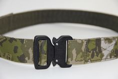 "Cobra Shooters Belt Lite - 1.5"", Black buckle, A-TACS FG webbing. www.jonestactical.com"