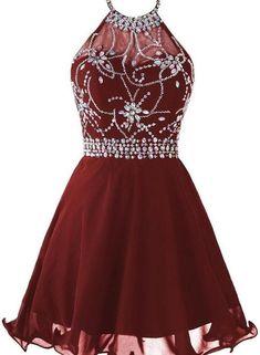 Dark burgundy halter beaded homecoming dresses, short sparkle prom dresses, cute formal dresses on storenvy Burgundy Homecoming Dresses, Prom Dresses 2018, Backless Prom Dresses, Dance Dresses, Chiffon Dresses, 50s Dresses, Prom Gowns, Silk Dress, Evening Dresses