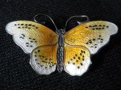 Vintage Sterling Silver Enameled Butterfly Brooch, Norway, Designer Signed | eBay