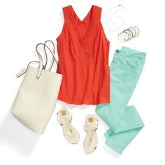 Inspiration Gallery | Stitch Fix Style I really like this top - great color & v-neck; not sure about the mint jeans...