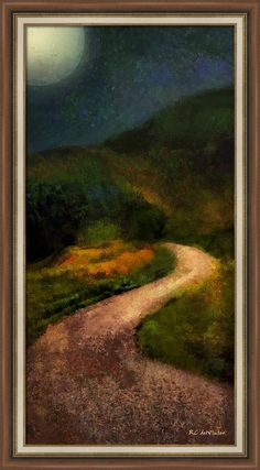 """Autumn Road"" ~ © 2016 RC deWinter ~ An autumn night view of a winding road in the foothills of Aspen, Colorado. Shown here as an 18.00"" x 36.00"" framed print on Somerset Velvet paper; finished size 22.38"" x 40.38"", frame Brown FRC13. Available in a variety of media, size, and colors."