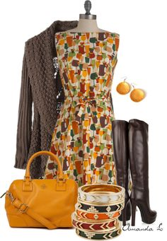 Cute patterned dress is a great base for a DYT Type 3 outfit. The boots and sweater should be more of a chocolate brown though.