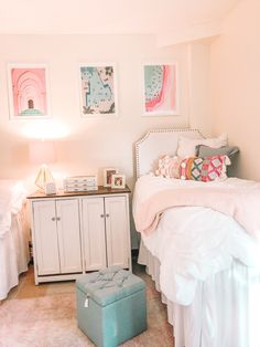 Room Ideas Bedroom, Bedroom Decor, Cute Dorm Rooms, Preppy Dorm Room, Pink Dorm Rooms, Dorm Room Themes, Dorm Room Designs, College Room, Girl College Dorms