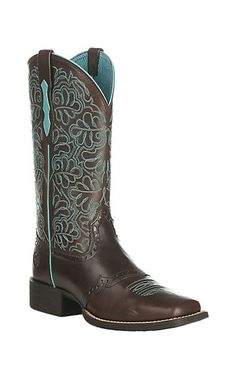 Ariat Women's Round Up Remuda Dark Brown Western Square Toe Boots | Cavender's