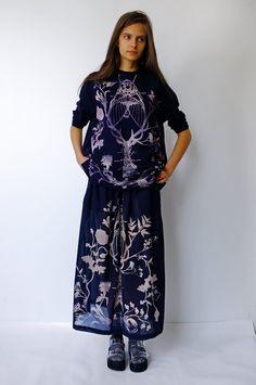 Deep Blue Hand-Bleached T-Shirt & Transparent Skirt by Masha Lamzina #mashalamzina  #bleach #stencil