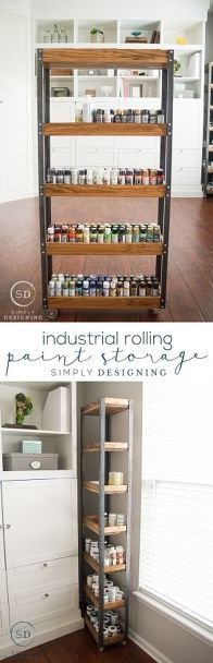 DIY Industrial Rolling Paint Storage - this is an easy afternoon diy project that is perfect for storing almost anything. I need this for my craft room. I think I'd put the shelves a little closer together though and do one more shelf. Space Crafts, Home Crafts, Diy Home Decor, Craft Space, Paint Storage, Craft Room Storage, Craft Rooms, Storage Ideas, Kitchen Storage