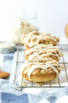 Baked Maple Glazed Apple Crisp Doughnuts (Donuts): Soft, apple filled baked doughnuts (donuts, whatever!) topped with crunchy brown sugar streusel and maple glaze -- the BEST doughnut I've ever had! Perfect for fall and Thanksgiving! www.thereciperebe...