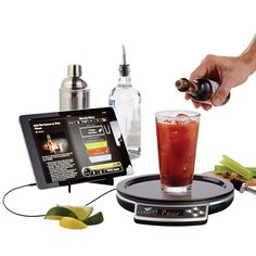 Choose your drink. Follow real-time pouring instructions. Be a bartending superhero. This is so cool! It measure show much you pour, and readjusts the recipe if you overpour.