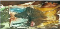 """3 dories mevagissey u k   12"""" x 22""""  micheal zarowsky watercolour on arches paper / private collection"""