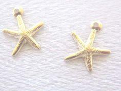 14 K Gold Fill Starfish Charm 8mm Hollow back 2 by simplysurina, $5.50