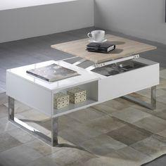 Table basse rectangulaire en bois avec plateau relevable L100cm BATTLE