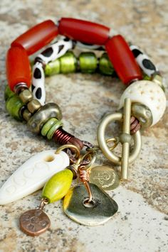 Exotic Amber, Giraffe Print, Lime, Bone & Mixed Metals Charm Bracelet
