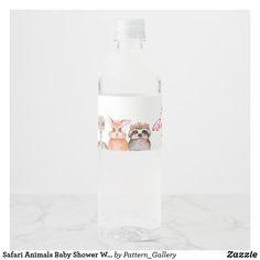 Safari Animals Baby Shower Water Bottle Label Baby Shower Invitation Cards, Baby Shower Invites For Girl, Safari Animals, Baby Animals, Teddy Bear Baby Shower, Water Bottle Labels, Rustic Invitations, Bottle Design, Pregnancy