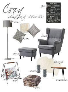 collage | interior | Leseecke | reading corner | Ikea | Wohnzimmer | livingroom | sessel | hocker | kuschelige Decke | Stehlampe | Kissen