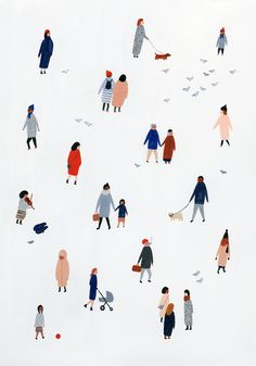 Kate Pugsley art work Tiny People Print High quality giclée print of my original gouache painting. Professionally printed on cotton archival matte paper with pigment inks. Print measures inches including a 1 Art And Illustration, Illustration Design Graphique, Art Graphique, Portrait Illustration, Photoshop, Kate Pugsley, Printable Poster, Art Watercolor, Guache