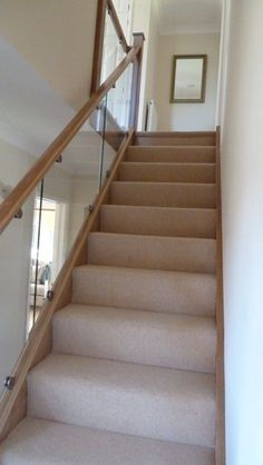 An Abbott-Wade inline Oak & Glass staircase - Panissue Share Glass Stair Balustrade, Stair Banister, House Staircase, Banisters, Staircases, Staircase Glass Railing, Stair Bannister Ideas, Basement Stair, Staircase Storage