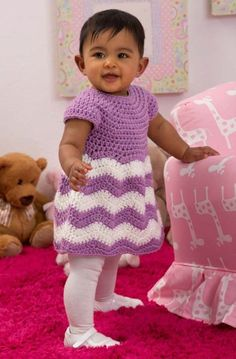Chevron Chic Baby Dress in Red Heart Super Saver Economy Solids - LW4382…