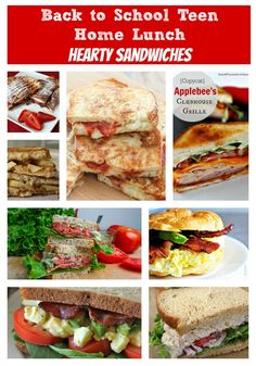 """Back to school teen home lunch. A round-up of hearty sandwiches for teen or """"big kid"""" school lunch meals."""