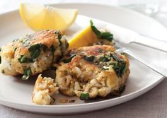 Millet Fritters with Feta, Spinach, and Golden Raisins | Vegetarian Times