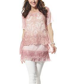 Pink Lace Layered Tunic