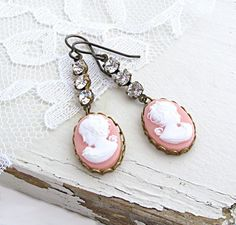 Cameo Jewelry Pink Cameo Earrings by laurenblythedesigns on Etsy, $26.00